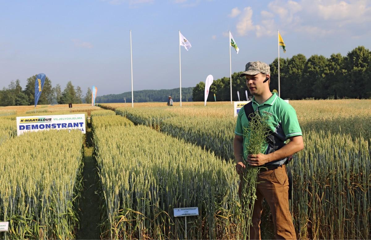 Viljelyohjelmapäällikkö Juho Urkko esitteli K-maatalouden uusia kevätvehnälajikkeita sekä Clearfield-kevätrapsia. Kuluneena kesänä myytiin Suomessa myös ensimmäiset Clearfield-syysrapsin siemenet.