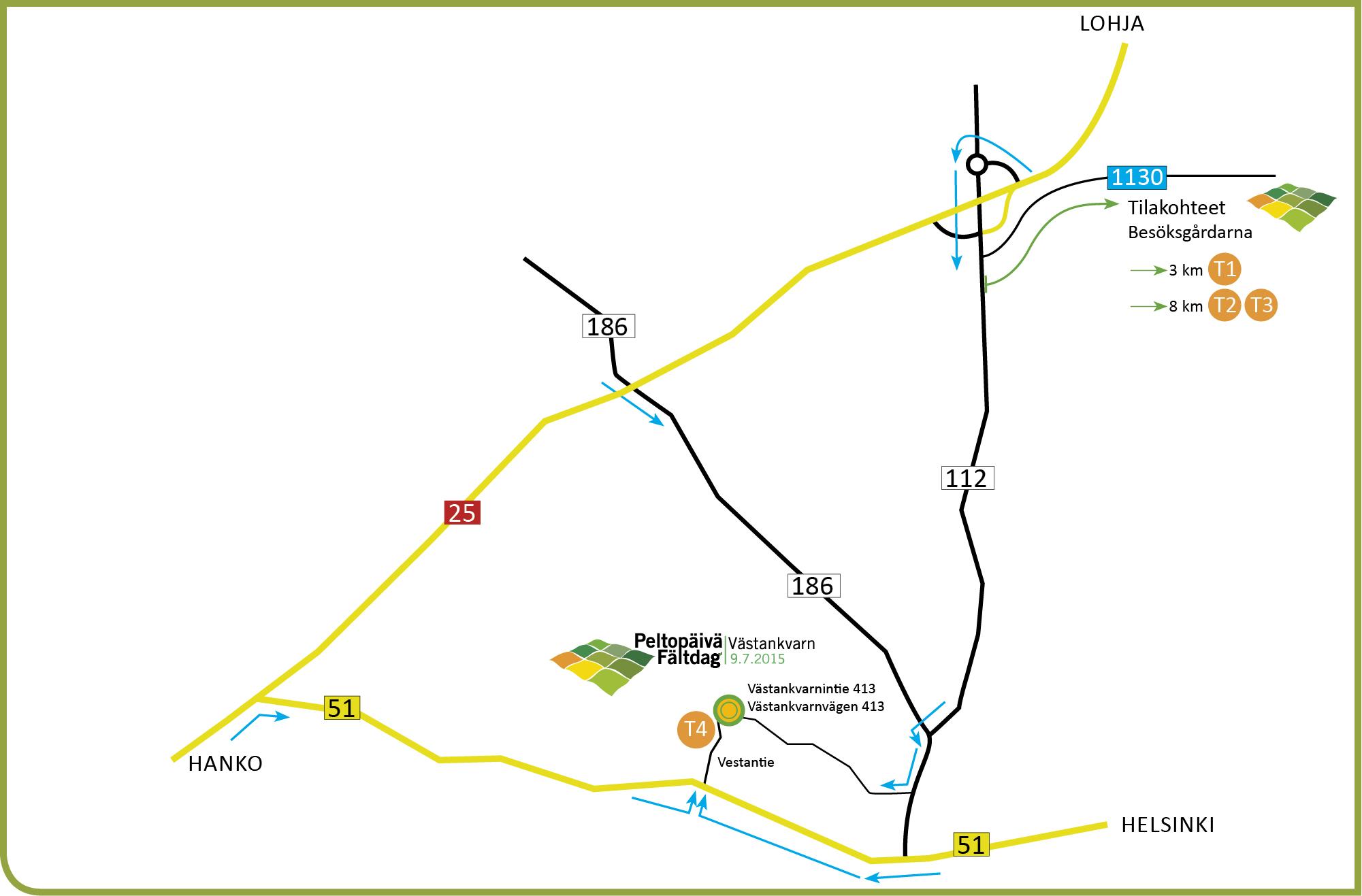T1–T4 Tilakohteet  T1 Postiksen tila, Postis 16, Siuntio T2 Malmgård Sjundeå, Malmintie 307, Siuntio T3 Flythin tila, Solbergvägen 986, Inkoo T4 Västankvarnin tila